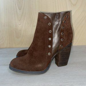 Volatile Vegan Faux Suede Brown Ankle Boots 8